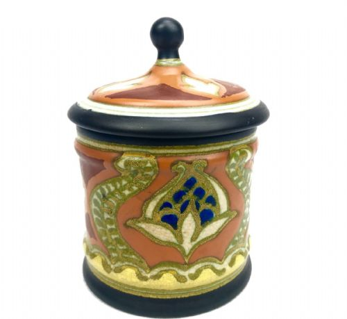 Gouda Pottery Condiment Jar / Vase / Pot / Art Deco / Orange / Brown / Blue